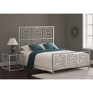 Greek Key Silver Metal Bed