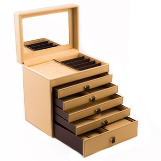 Olivia Large Tan Leather Jewelry Chest