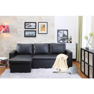 the-Hom 2-piece Black Georgetown Bi-cast Leather Sectional Sofa Bed with Storage