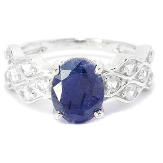 14K White Gold 3.02ctw Sapphire and Cubic Zirconia Wave Band Ring