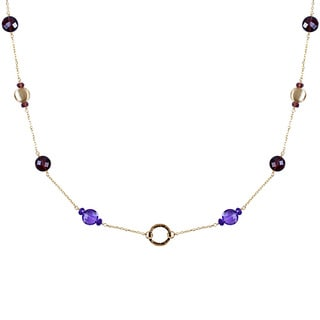 14k Yellow Gold Amethyst and Garnet Necklace