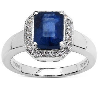 Malaika Sterling Silver Blue Sapphire and White Topaz Ring