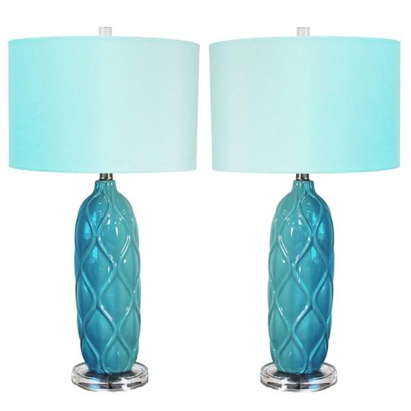 Casa Cortes Capri 3-Way Switch 26-inch Ceramic Table Lamp (Set of 2)