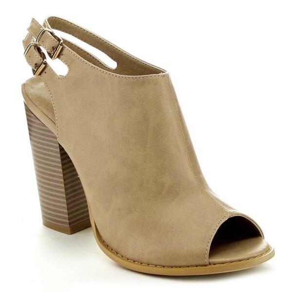 Anne Marie Sarah-11 Women Peep Toe Sling back Chunky High Heel Sandal Bootie
