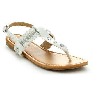 Anna Adriana-31 Women's Sling Back Braided T-Strap Flat Thong Sandal with Rhinestones
