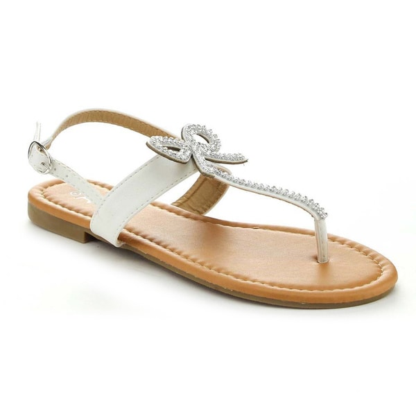 Anna Adriana-32 Women's Sweet Sling Back T-Strap Flat Sandal with Rhinestone Bow