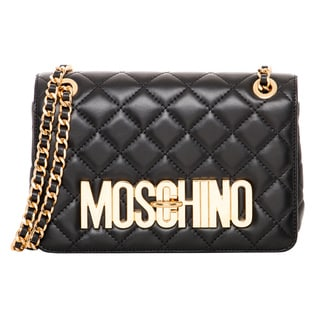 Moschino Medium Leather Quilted Shoulder Bag