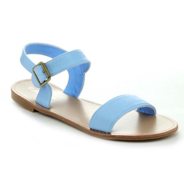 Anna Covina-8 Women's Basic Ankle Strap Flat Heel Sandal Shoes