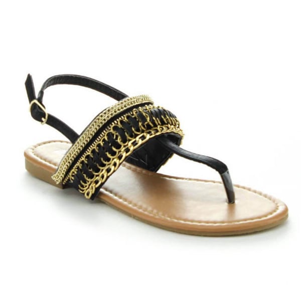 Anne Marie Ester-1 Women's Sling Back T-Strap Flat Sandal with Metal Chains