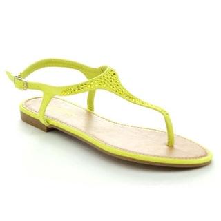 Anne Gaga Women's T-Strap Gladiator Flat Sandal with Rhinestone