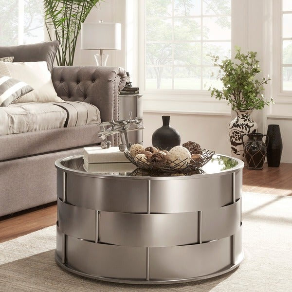 Details About Metal Coffee Table Mirror Top Modern Living Room Accent
