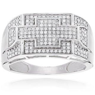 Luxurman 10k White Gold Men's 1/2ct TDW Diamond Pinky Ring (H-I, SI1-SI2)