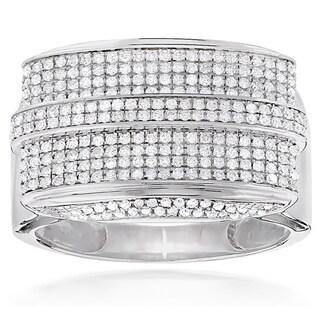 Luxurman 10k White Gold Men's 1 1/10ct TDW Diamond Ring (H-I, SI1-SI2)