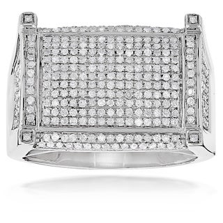 Luxurman 10k White Gold Men's 1 1/6ct TDW Pave Diamond Ring (H-I, SI1-SI2)