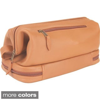 Royce Leather Toiletry Travel Wash Bag with Zippered Bottom Compartment