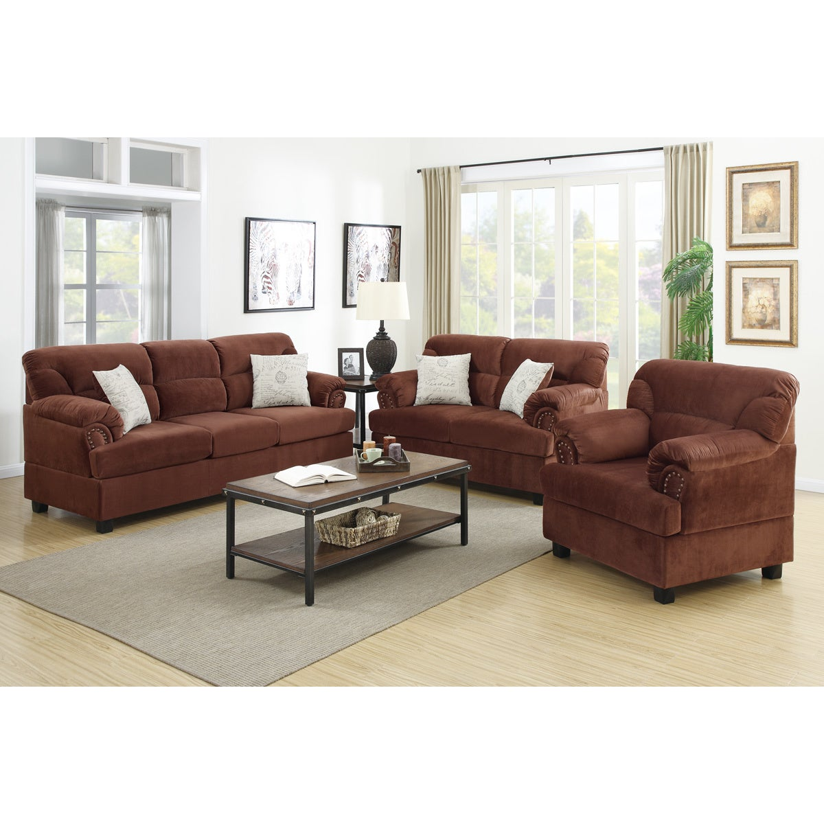 Junik 3 piece living room set in microfiber overstock for 8 piece living room furniture