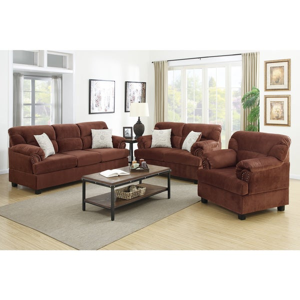 Junik 3 piece living room set in microfiber 17141924 for 7 piece living room furniture sets