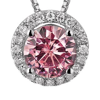 Charles and Colvard Sterling Silver 1 1/2ct TGW Pink Moissanite Halo Pendant