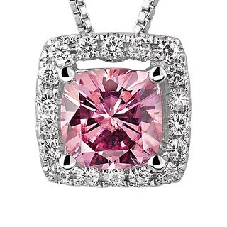 Charles and Colvard Sterling Silver 1 1/10ct TGW Pink Moissanite Cushion-cut Halo Pendant