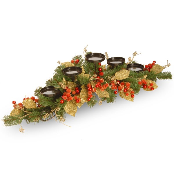 Berry / Leaf Vine 36-inch 5-candle Holder