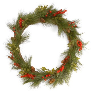 Mixed Bristle Pine 30-inch Wreath with Red Berries and Cones