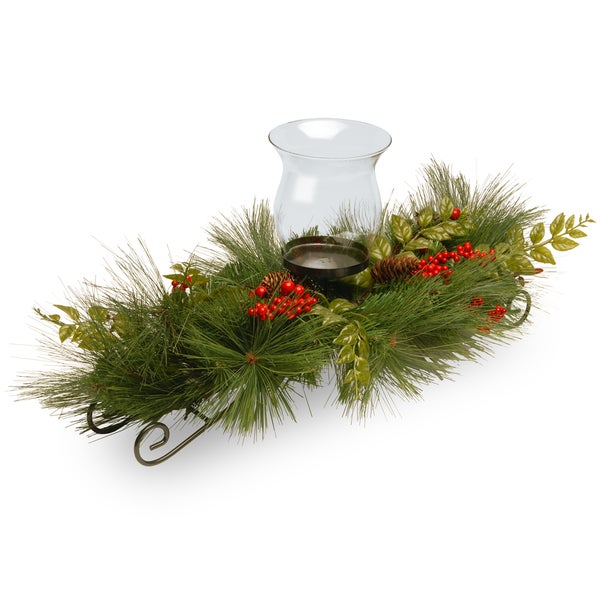 Mixed Bristle Pine 30-inch 1-candle Holder with Glass Cup and Red Berries/ Cones 15077345