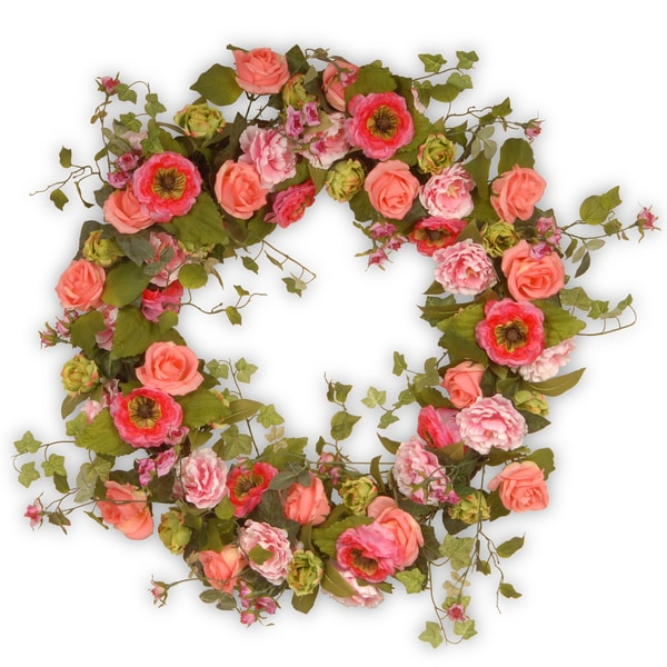 Mixed Flower Pink 32-inch Wreath