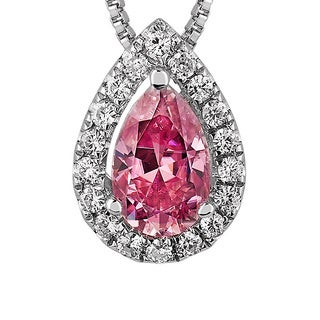 Charles and Colvard Sterling Silver 1ct TGW Pink Moissanite Pear-cut Halo Pendant