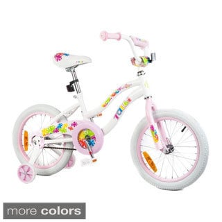 Tauki Colorful 16 inch Flowers Girl Bike with Removable Training Wheels, Coaster Brake