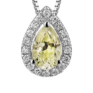 Charles and Colvard Sterling Silver 1ct TGW Yellow Moissanite Pear-cut Halo Pendant