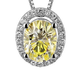 Charles and Colvard Sterling Silver 2 1/10ct TGW Yellow Moissanite Oval-cut Halo Pendant
