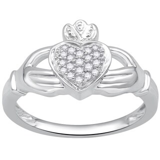 Sterling Silver 1/8ct TDW Diamond Claddagh Ring (H-I ,I3)