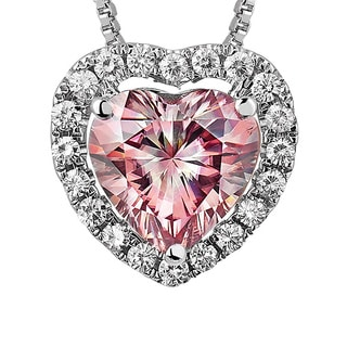 Charles and Colvard Sterling Silver 1 4/5ct TGW Pink Moissanite Heart-shaped Halo Pendant