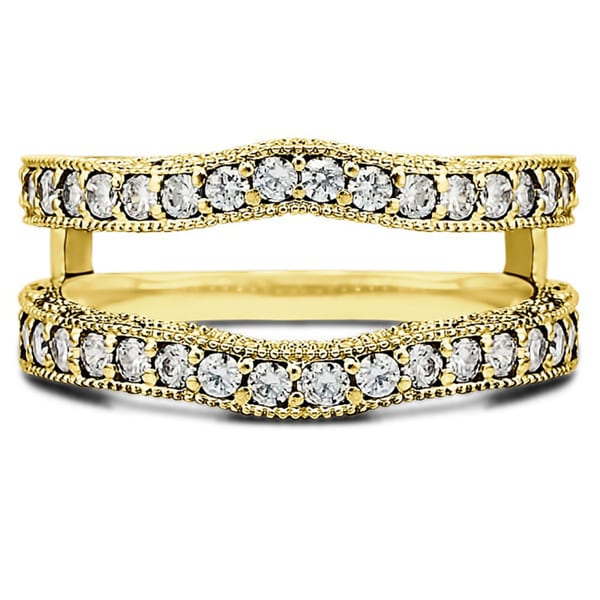 TwoBirch Gold over Silver 1/4ct TDW White Diamond Milgrain Cut-out Double Band Ring (G-H, I2-I3)