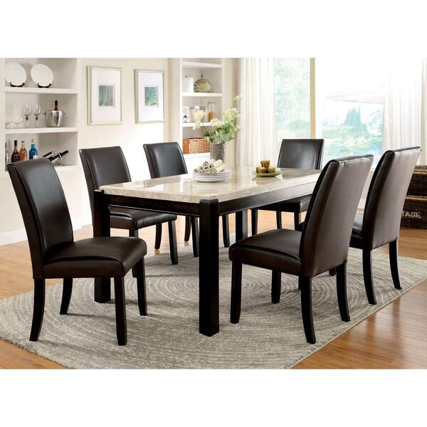 Furniture of america joreth 7 piece dark walnut dining set for Furniture of america reviews