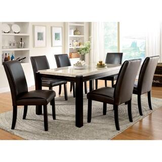Furniture of America Joreth 7-piece Dark Walnut Dining Set with Genuine Marble
