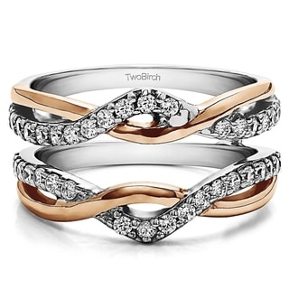 TwoBirch 10k Two-tone Gold 3/5ct TDW Diamond Infinity Ring Guard Enhancer (G-H, I2-I3)