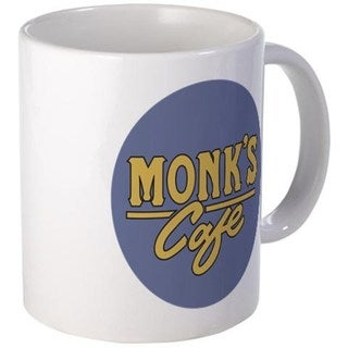 Monk's Cafe White Coffee Mug