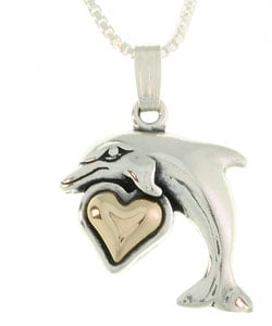 CGC 14k Gold and Sterling Silver Dolphin Necklace