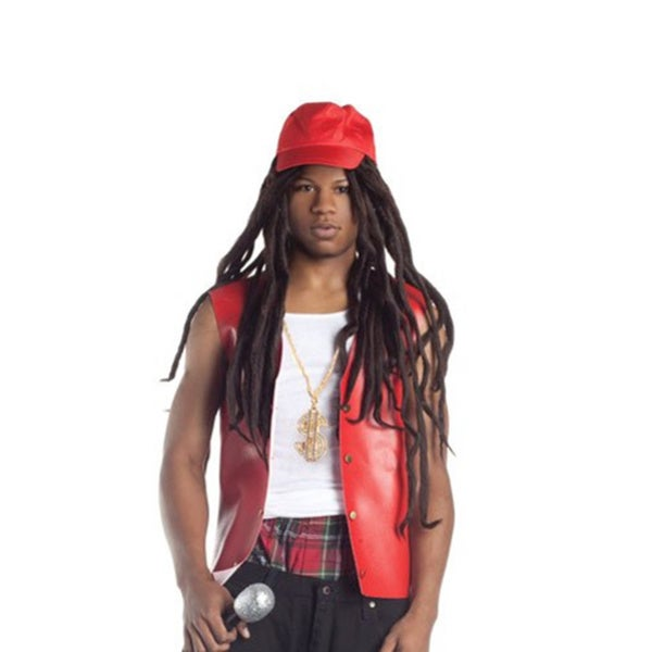 Rapper Wig With Hat Weezy Dreadlocks Cap Adult Costume Rap Hip Hop