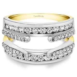 TwoBirch 10k Two-tone Gold 1/2ct TDW White Diamond Double Band Ring Enhancer (G-H, I2-I3)