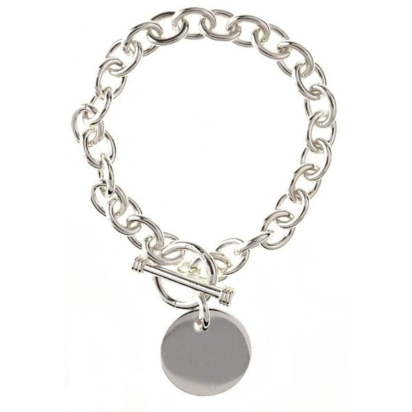 Sterling Essentials Sterling Silver 7.5-inch Round Toggle Bracelet (As Is Item)