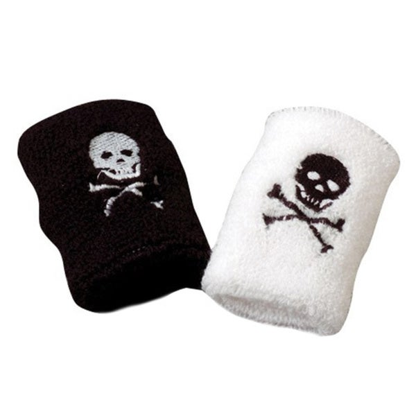 White and Black Pirate Skull and Crossbone Wristband