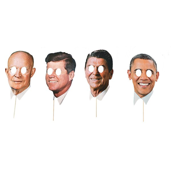 Modern Day Presidents 4-pack Stick Prop Masks