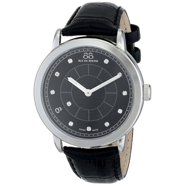 88 Rue du Rhone Unisex 87WA120026 'Double 8 Origin' Swiss Quartz Black Leather Watch