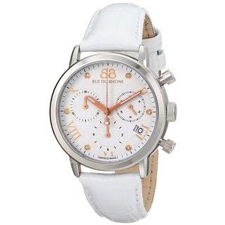 88 Rue du Rhone Women's 87WA130003 'Double 8 Origin' Chronograph Swiss Quartz White Leather Watch