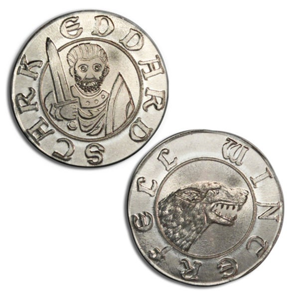 Game of Thrones Eddard Stark and Direwolf Silver Coin