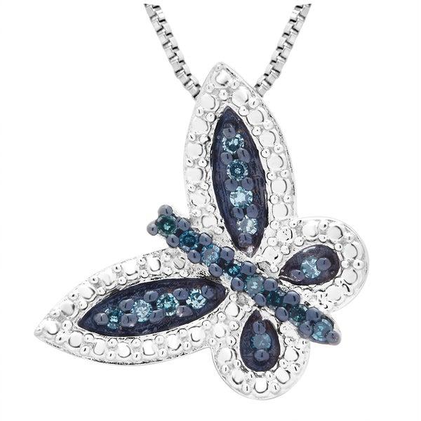 Sterling Silver 1/5ct TDW Blue Diamond Butterfly Pendant