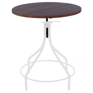 Machinist White + Wood Top Round Adjustable Dining Table