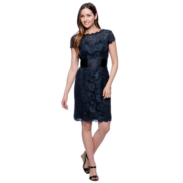 Attitude Couture Women's Short Lace Social Occasion Navy Dress in Size 14 (As Is Item)